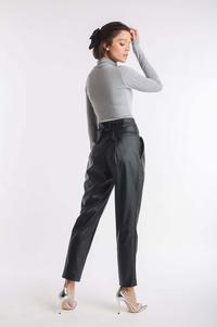 Black Elegant Imitation Leather Pants