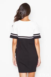 Black&Ecru Striped Casual Dress