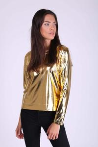 Gold Simple Blouse with Shimmering Fabric