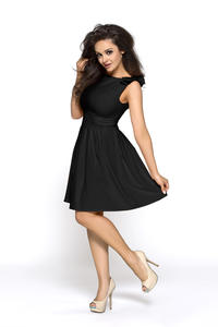 Black Shoulder Bow Sleeveless Flippy Dress