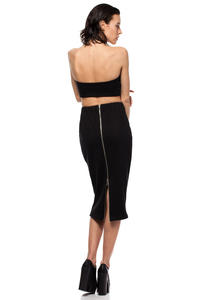 Black Midi Pencil Skirt with Decorative Back Zipper Fastening 53029246f