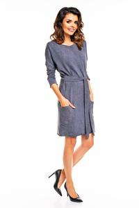 Dark Grey Office Style Belted Dress