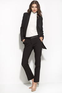 Mock Leather Belted Black Pants with Tapered Leg