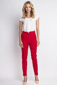 Red Hight Waist Elegant Pants