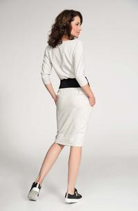 Beige Contarsting Slim Waist Dress