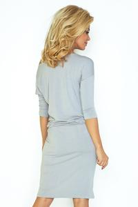 Cement Grey Casual Style Drawstring Waist Dress