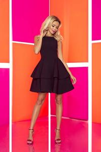 Black Coctail Dress with Double Frill