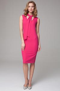 Pink Slim Fit Midi Dress with Self Tie Scarf