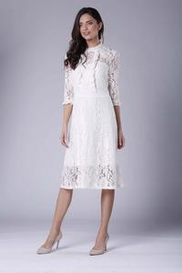 Ecru Slim Waist Lace Dress