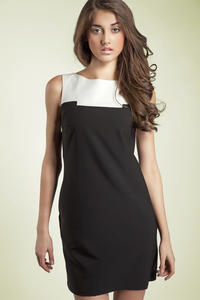 Black Sleeveless Colour Block Panel Dress