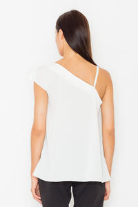 Ecru Asymetrical One Shoulders Strap Dress with a Frill