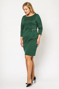 Green Classic 3/4 Sleeves Dress with Zips PLUS SIZE