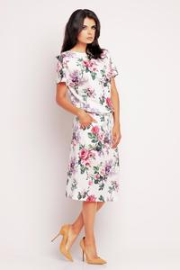 White&Pink Floral Print Midi Dress with Side Pockets