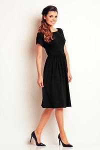 Black Short Sleeves Knee Length Dress