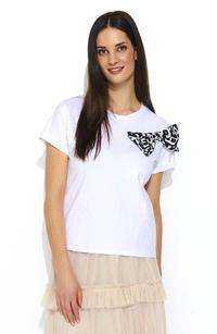 White T-shirt with Animal Theme with Bow