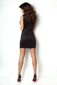 Black Slim Fit Mini Dress with Leather