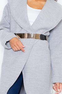 Grey Big Collar Short Coat with Gold Belt