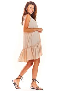 Beige Loose Sleeveless Frill Dress
