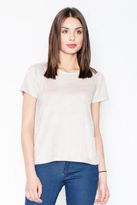 Beige Suede T-shirt with Zip at The Back