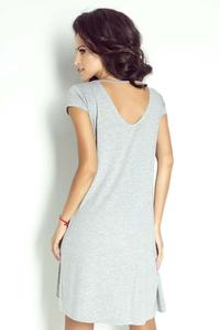 Grey Short Sleeves Flared Mini Dress
