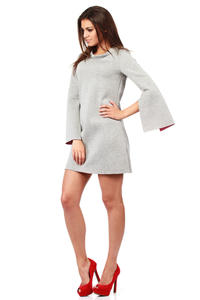 Grey Modern Mini Monk Shirt Dress