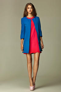 Straight Cut Round Neck Front Open Long Blue Blazer
