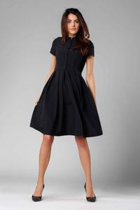 Black Flared short-sleeved Dress with Stand-up Collar