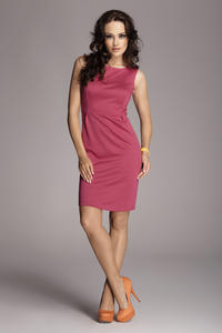 Fuchsia Bateau Neck Seam Shift Slit Dress