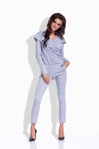 Light Grey Slim Legs Hooded Jumpsuit