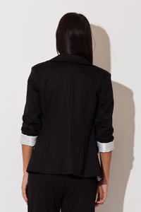 Black Long Lapel Blazer with Contrast Cuffs