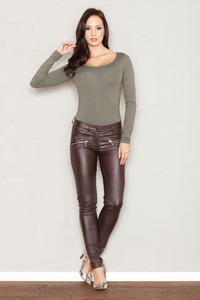 Brown Faux Leather Stretch Skinny Pants with Slant Zipper Pockets