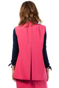 Pink Ladies Vest with Pockets and Belt