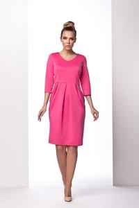 Pink Knee Length 3/4 Sleeves Dress