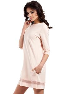Peach Classic Flared Dress with Transparent Strap