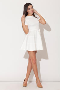 White Cap Sleeves Bateau Neck Seam Dress