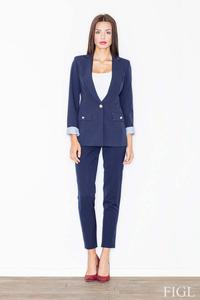 Dark Blue Elegant One Button Ladies Blazer