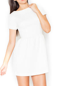 Ecru Diamond Stitched Shift Dress with Rolled Up Cuffs
