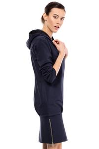 Navy Blue Casual Hooded Slim Skirt with Zipp Dress