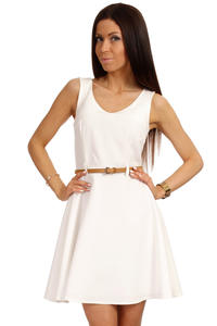 Off White Round Neck Sleeveless Flippy Dress with Belt Loops