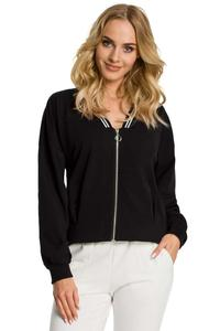 Black Bomber Jacket Fastened with Silver Zipper