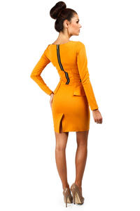 Honey Color Seam Shift Dress with Decorative Zipper Pockets