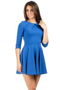 Blue Pleated Neckline Flippy Dress