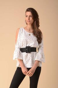 Blouse with a slit on the sleeves - polka dots