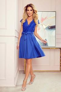 Blue Flared Evening Dress with Lace