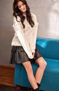 Flared Leather Short Skirt with Frills