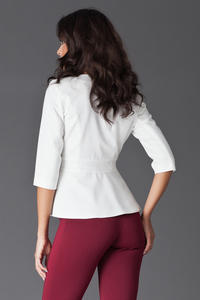 Off White Frilled Hemline Blazer with Front Zipper Fastening