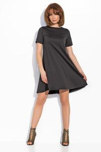 Black Short Sleeves Mini Swing Dress