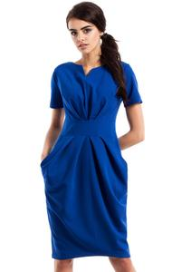 Blue Wrinkled Slim Waist Knee Length Dress