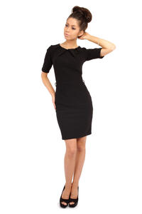 Black Pleated Neckline Belted Shift Dress