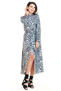 White and Black Long Leopard Shirt Dress